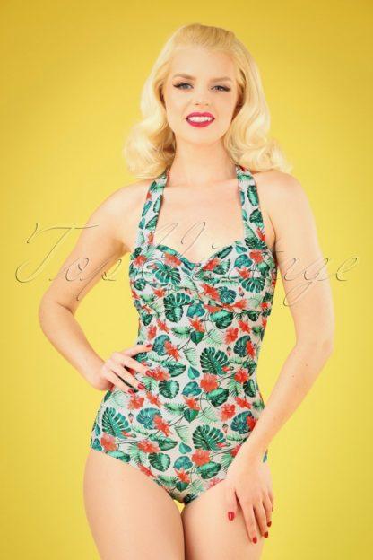 50s Hibiscus Halter Swimsuit in Cream