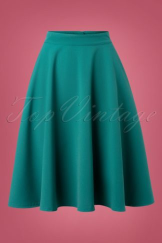 50s High Waist Thrills Swing Skirt in Jade