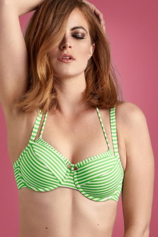 50s Holi Vintage Balcony Bikini Top in Green and Ecru