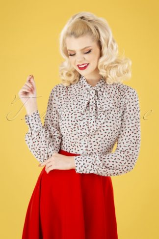 50s Hope Hearts Blouse in White