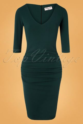 50s Ilse Pencil Dress in Forest Green