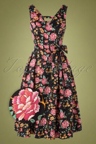 50s Iris Ornate Floral Swing Dress in Black