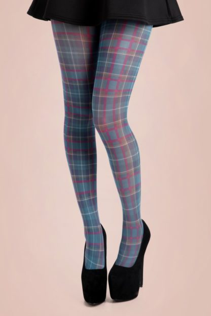 50s Jackson Plaid Tights in Blue
