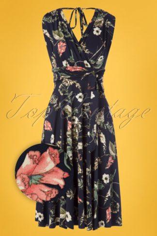 50s Jane Floral Midi Dress in Navy