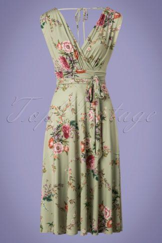 50s Jane Floral Midi Dress in Vintage Green
