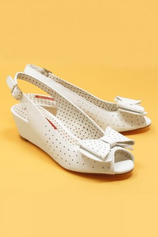 50s Jasmine Wedge Peeptoes in White