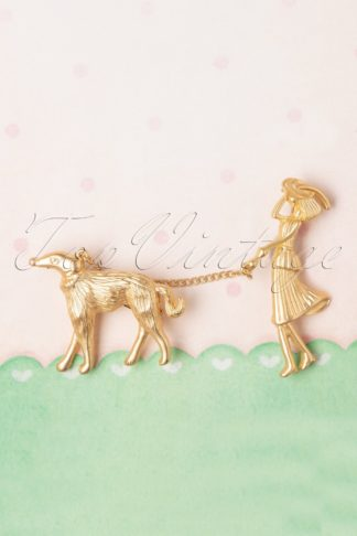 50s Javan Lady and Dog Brooch in Gold