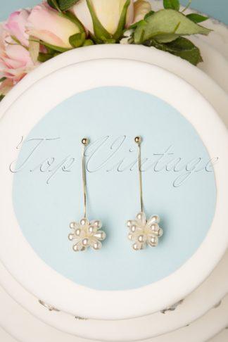 50s Jemmimah Pearl Drop Earrings in Gold