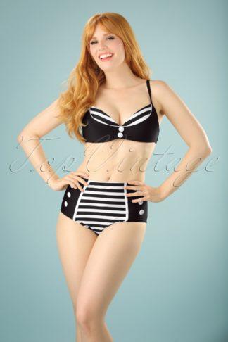 50s Joelle Stripes Bikini Top in Black and White