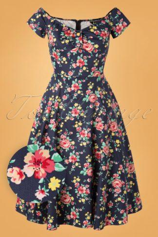 50s Josie Country Garden Swing Dress in Navy