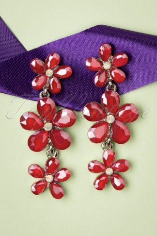 50s Julia Crystal Flower Earrings in Red