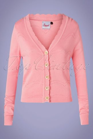 50s June Pointelle Cardigan in Pink