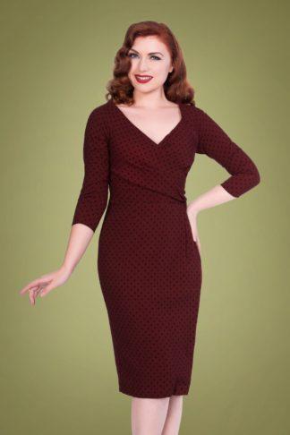 50s Katherine Polkadot Pencil Dress in Burgundy