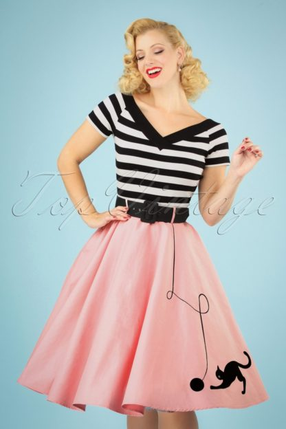 50s Kitty Cat Swing Skirt in Light Pink