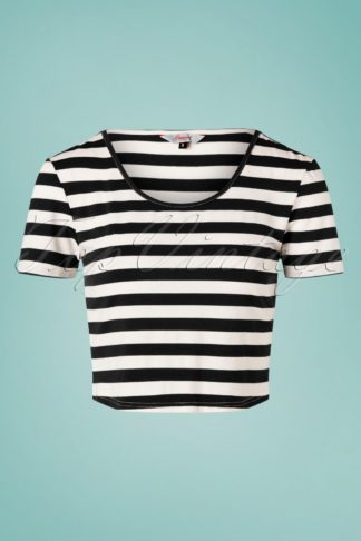 50s Land Ahoy Crop T-Shirt in Black and White