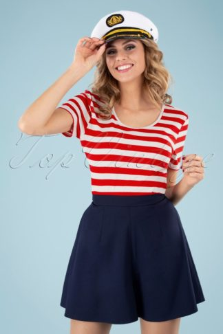 50s Land Ahoy Crop T-Shirt in Red and White