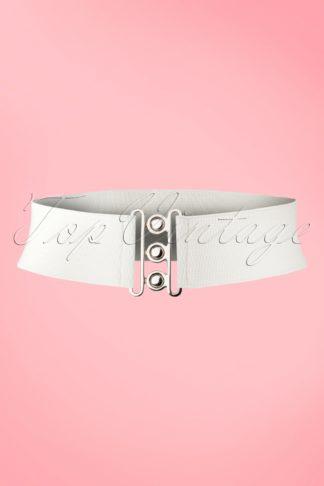 50s Lauren Retro Stretch Belt in White