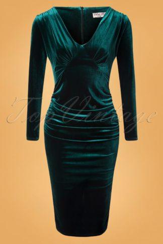 50s Laverna Pencil Dress in Bottle Green