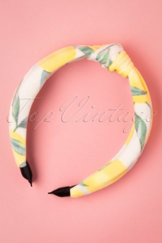 50s Lemon Hair Band in White and Yellow