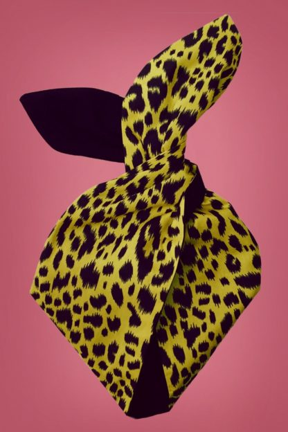 50s Leopard Spots Hair Scarf in Yellow