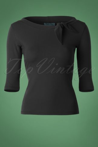 50s Lily Bow Top in Black