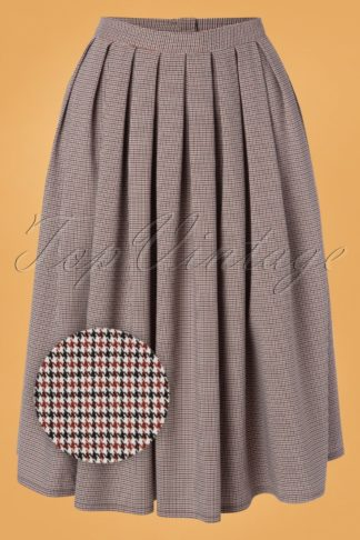 50s Lizzy Check Swing Skirt in Ivory and Black
