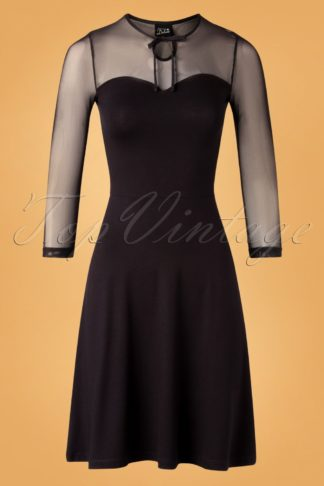 50s Lovely Chic Swing Dress in Black