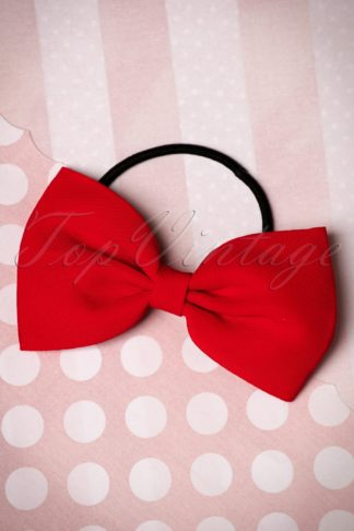 50s Lovestruck Bow Hair Band in Red