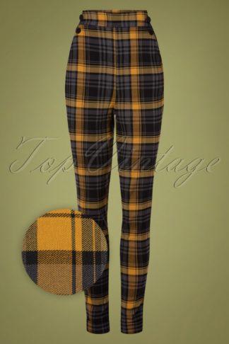 50s Luca High Waist Tartan Pants in Mustard and Grey