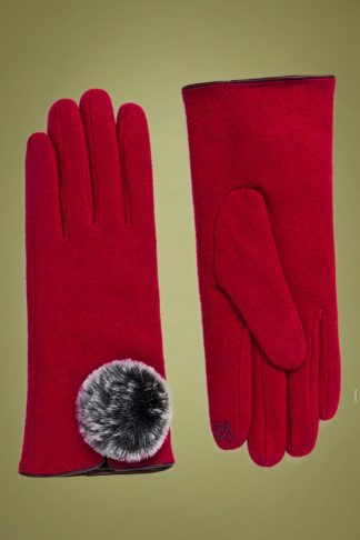 50s Lucia Wool Gloves in Red