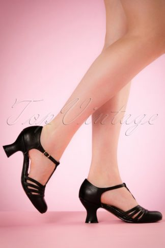 50s Lucy T-Strap Pumps in Black