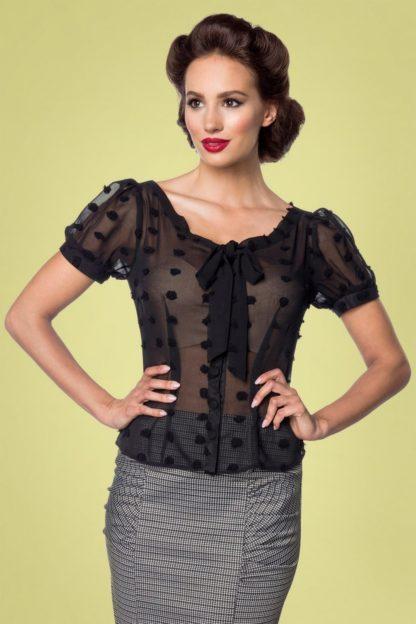 50s Lynda Dots Blouse in Black