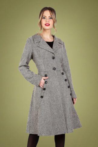 50s Macie Herringbone Coat in Black and White