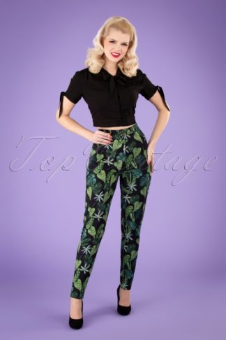 50s Maddie Black Forest Trousers in Black