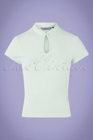 50s Mandarin Collar Top in Mint