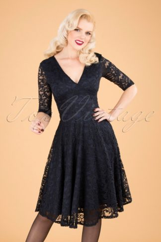 50s Maria Lace Swing Dress in Navy