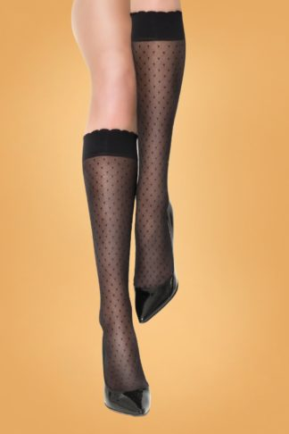 50s Matrica Knee Socks in Black