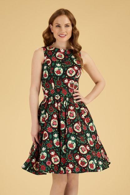 50s Matryoshka Tea Dress in Black
