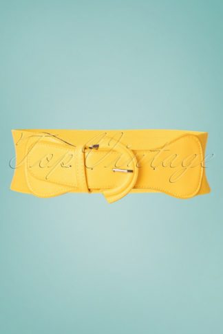 50s Maxine Cinch Stretch Belt in Yellow