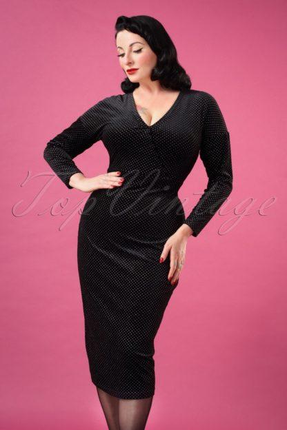 50s Metal Polka Velvet Pencil Dress in Black