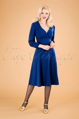 50s Micheline Pitt X Unique Vintage Pris Swing Dress in Royal Blue