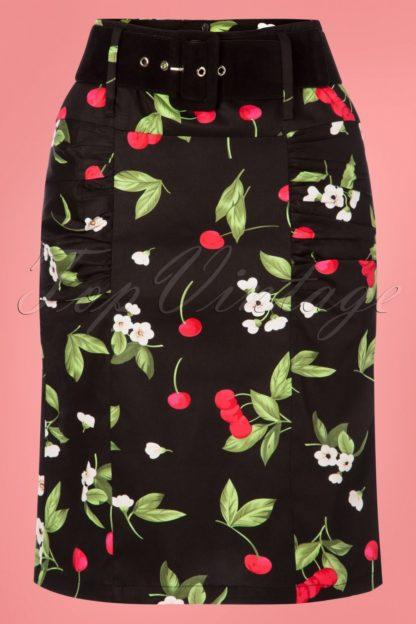 50s Millie Cherry Pencil Skirt in Black