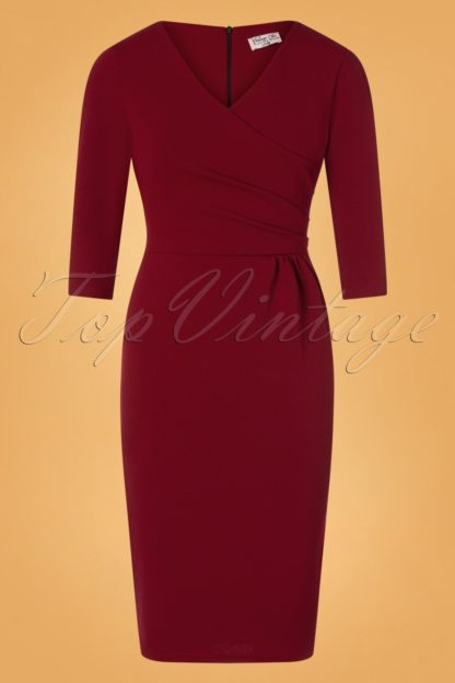50s Mirabella Pencil Dress in Wine