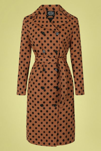 50s Nancy Polkadot Trench Coat in Brown