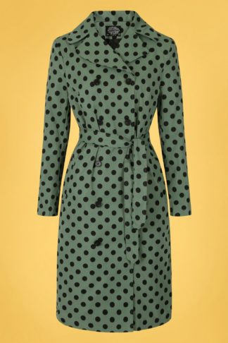 50s Nancy Polkadot Trench Coat in Green