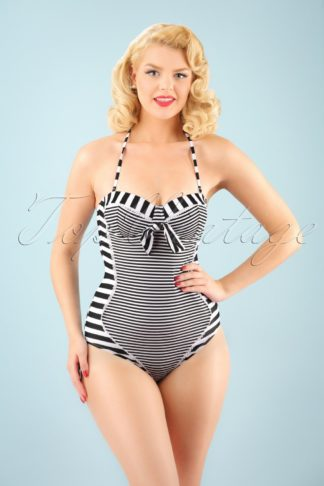 50s Nancy Stripes Halter Swimsuit in Black and White