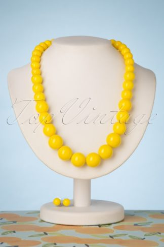 50s Natalie Bead Necklace Set in Yellow