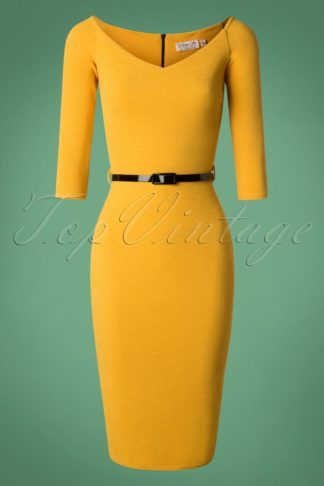 50s Neila Pencil Dress in Mustard