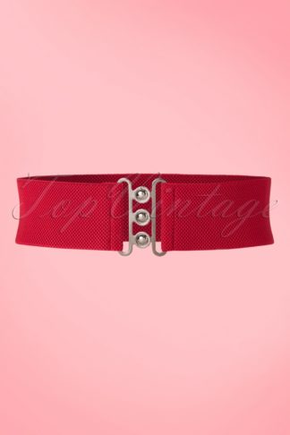 50s Nessa Cinch Stretch Belt in Red