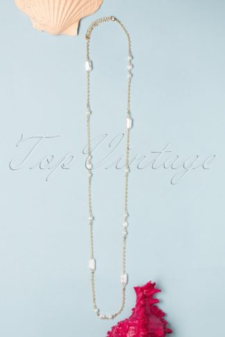 50s No Grit No Pearls Long Necklace in Gold